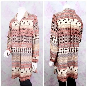 Chico's 2 Orange Southwestern Boho Tribal Aztec Bu